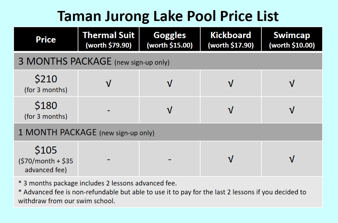 Taman Jurong Lake Pool Price List - Owen Swim School